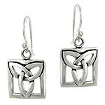 Sterling Silver Celtic Knot Square Dangle Earrings