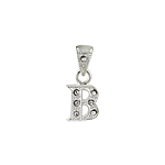 "Sterling Silver Textured ""B"" Initial Pendant with White CZ"