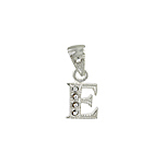 "Sterling Silver Textured ""E"" Initial Pendant with White CZ"