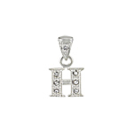 "Sterling Silver Textured ""H"" Initial Pendant with White CZ"