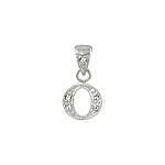 "Sterling Silver Textured ""O"" Initial Pendant with White CZ"