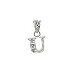 "Sterling Silver Textured ""U"" Initial Pendant with White CZ"