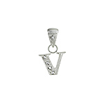 "Sterling Silver Textured ""V"" Initial Pendant with White CZ"