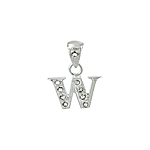 "Sterling Silver Textured ""W"" Initial Pendant with White CZ"