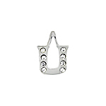 "Sterling Silver ""U"" Initial Pendant with White CZ"