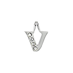 "Sterling Silver ""V"" Initial Pendant with White CZ"