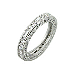 Sterling Silver Brilliant and Baquette CZ Stackable Band