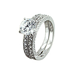 Sterling Silver Round Solitaire CZ Engagement Ring Set