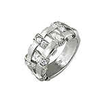 Designer Inspired Sterling Silver Rhodium Finish Basket Weave Pave Cubic Zirconia Anniversary Ring