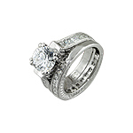 Sterling Silver Rhodium Finish Solitaire 8mm Round Cut 4-Prong Cubic Zirconia Wedding Ring Set