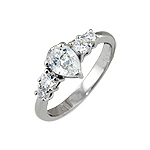 Sterling Silver Pear Shape CZ Engagement Ring with Sidestones