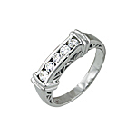 Sterling Silver Channel Set Antique Ring
