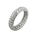 Sterling Silver Eternity Pave CZ Wedding Band