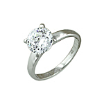 Sterling Silver Round Cut 8mm Solitaire Cubic Zirconia Wedding Ring