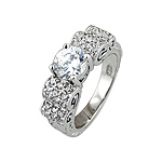 Sterling Silver Round CZ and Pave Scrolls Engagement Ring