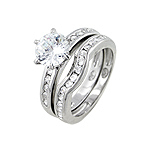 Sterling Silver Rhodium Finish Round Solitaire 6-prong Cubic Zirconia Engagement Ring Set