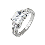 Sterling Silver Princess Cut Pave CZ Engagement Ring
