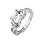 Sterling Silver Rhodium Finish Princess Cut Cubic Zirconia Engagement Ring