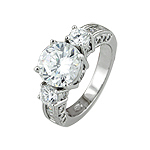 Sterling Silver Three Stone Wedding CZ Ring