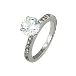 Sterling Silver 7mm Brilliant CZ Engagement Ring with Sidestones