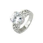 Sterling Silver Round Cut and Pave CZ Engagement Ring