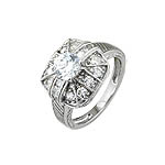 Sterling Silver Pave Cushion and Brilliant CZ Anniversary Ring