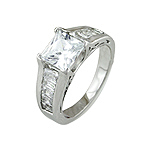 Sterling Silver Princess Cut CZ Engagement Ring