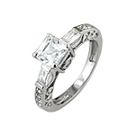 Sterling Silver Princess Pave CZ Engagement Ring