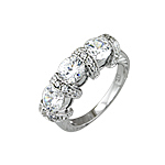 Sterling Silver Three Stone Antique Style Engagement CZ Ring