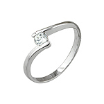 Sterling Silver Platinum Finish CZ Ring