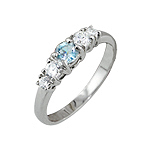 Sterling Silver Platinum Finish Imitation Topaz and CZ Ring