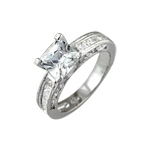 Sterling Silver Rhodium Finish Solitaire Princess Cut and Channel Set Cubic Zirconia Wedding Ring