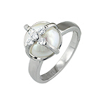 Sterling Silver Rhodium Finish Enclosed Pearl and CZ Anniversary Ring