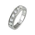 Sterling Silver Platinum Finish Pave CZ Ring