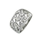 Sterling Silver Platinum Finish Tight Basket Weave Pave CZ Ring