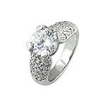 Sterling Silver Rhodium Finish Brilliant CZ Pave Wedding Ring