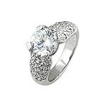 Sterling Silver Rhodium Finish Round CZ Pave Wedding Ring