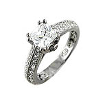 Sterling Silver Rhodium Finish Princess CZ Pave Engagement Ring