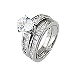Sterling Silver Rhodium Finish Pear Shape CZ Wedding Ring Set