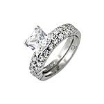 Sterling Silver Rhodium Finish Princess CZ Pave Engagement Ring Set