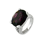 Sterling Silver Oval Cut Purple CZ Ring