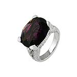 Sterling Silver Oval Cut Purple CZ Ring