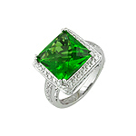 Sterling Silver Princess Cut Green CZ Ring