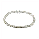 Sterling Silver Diamond CZ and Bars Tennis Bracelet
