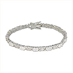 Sterling Silver Textured X and O White CZ Bracelet