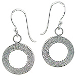 Sterling Silver Open Circle Scratch Finish Dangle Earrings