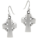 Sterling Silver Cross Dangle Earrings