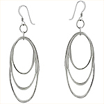 Sterling Silver Three Ovals Dangle Earrings