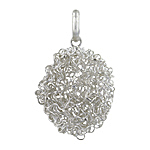 Sterling Silver Spiral Wire Oval Pendant
