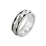 Sterling Silver Thick Rope Spin Ring